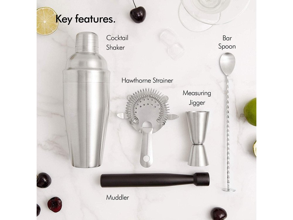 VonShef Cocktail Set 5 pieces., Set for Coctails with Stainless Steel Shaker, Manhattan Silver - 1000146