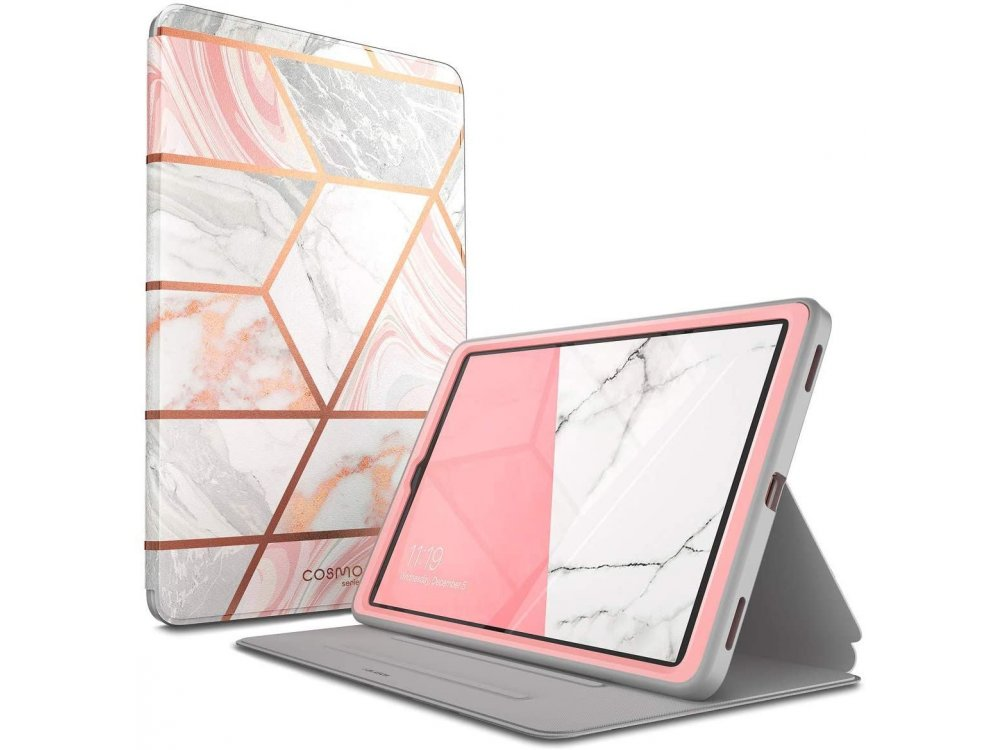 i-Blason Cosmo Galaxy Tab A 10.1 2019 T510 / T515 Trifold Case with Auto Sleep/Wake, Stand, Hard Back Cover, Marble Pink