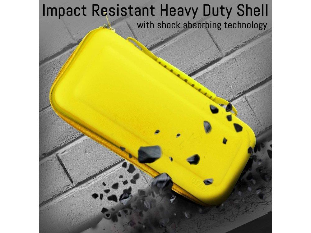 Orzly Nintendo Switch Lite θήκη μεταφοράς για συσκευή και παρελκόμενα, Κίτρινη