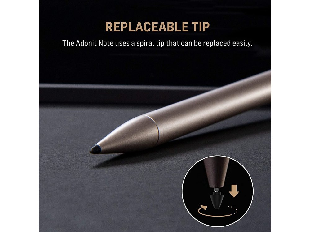 Adonit Note Stylus Pen Stylus for Writting/Drawing for iPad / iPad Air / iPad Pro with Palm Rejection, Gold - ADNG