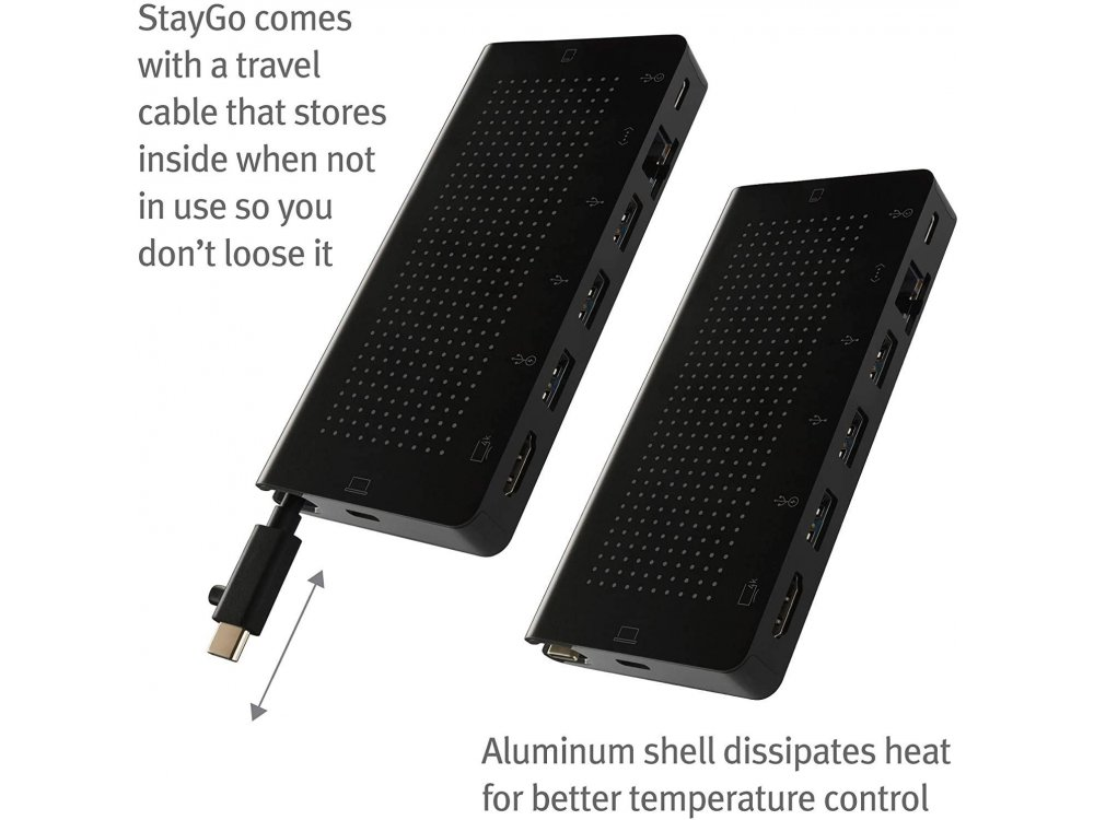 Twelve South StayGo USB C Data Hub - HDMI/4Κ + Gbps LAN + Card Reader + USB 3.0*3 Ports + USB-C 3.1 + 100W PD Charging - 12-1907