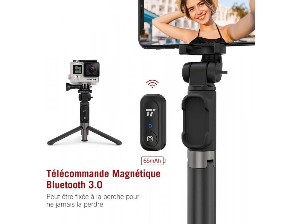 TaoTronics Bluetooth Selfie Stick & Tripod with Remote 3-in-1, Expandable Wireless Handheld Tripod - ST002