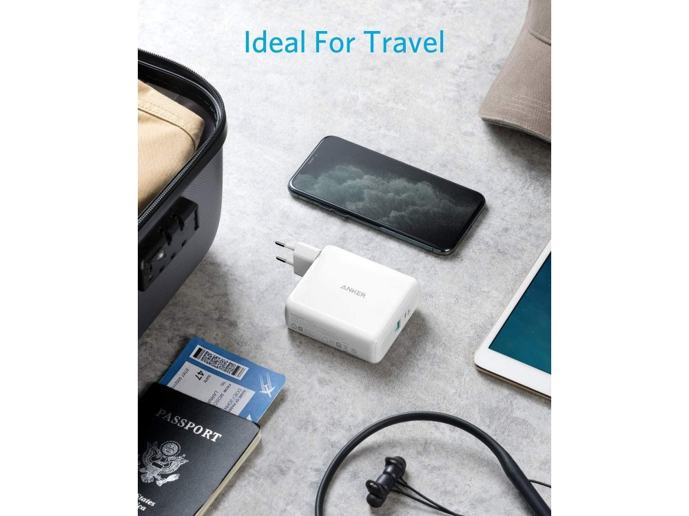 Anker PowerCore III Fusion 5K 2-in-1 Φορτιστής Πρίζας & Power Bank PD 5.000mAh Power Delivery - A1624G21, Λευκό