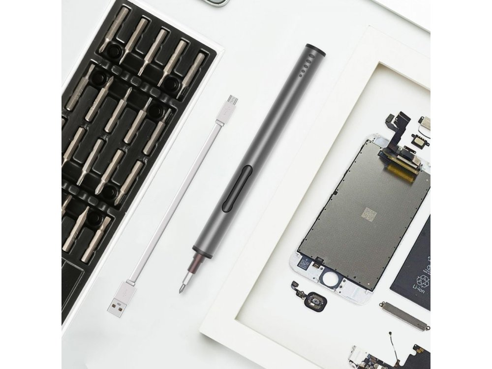 Nordic Toolkit, with tools with electrical screwdriver LED and bits for electronic devices,  20pcs - KS-88023