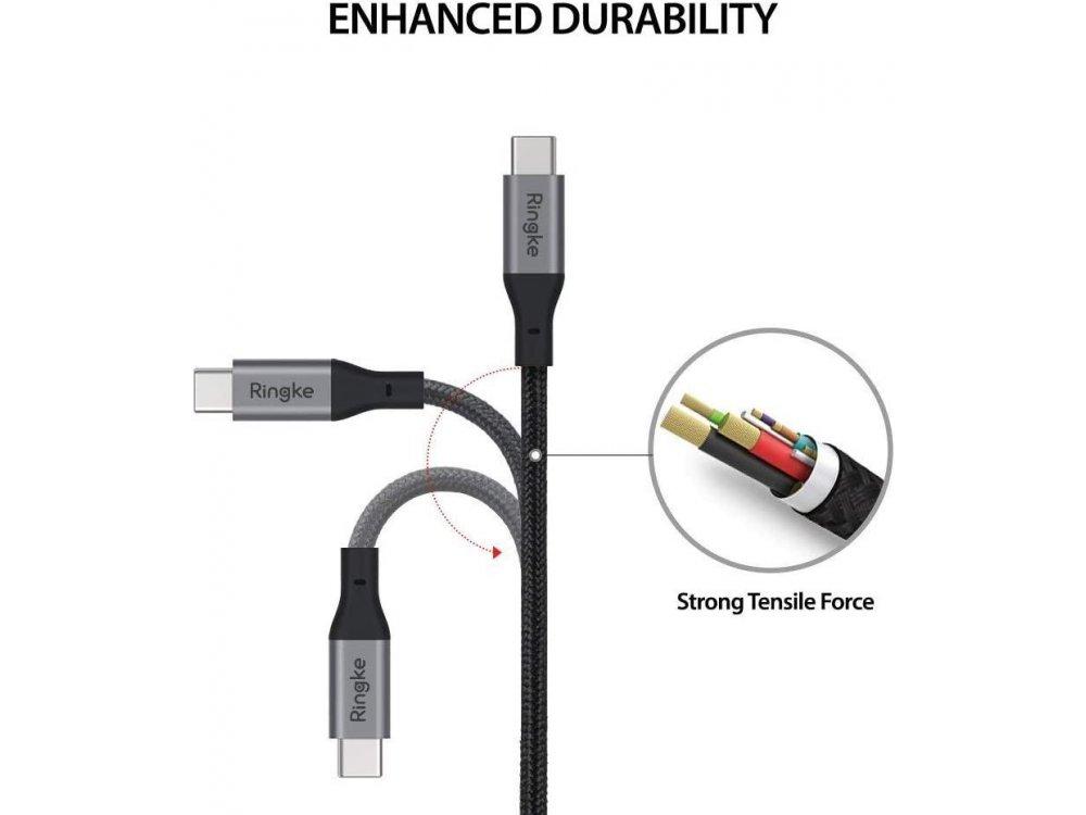 Ringke Καλώδιο 1.2μ. USB-C σε USB-C 3.1, με Νάυλον Ύφανση, Μαύρο