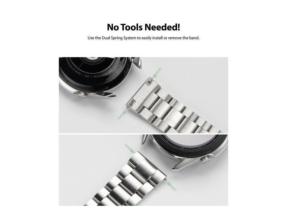 Ringke Watch Lug 22mm, Metal One Band για Galaxy Watch 3 / Gear S3 / Huawei Watch GT2 κ.α. Ρολόγια Λουριού 22mm, Silver