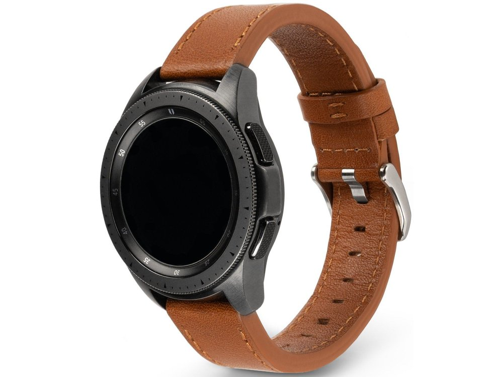 Ringke Watch Lug 22mm, Leather One Classic Band for Galaxy Watch 3 / Gear S3 / Huawei Watch GT2 and more smartwatches with 22mm band , Brown