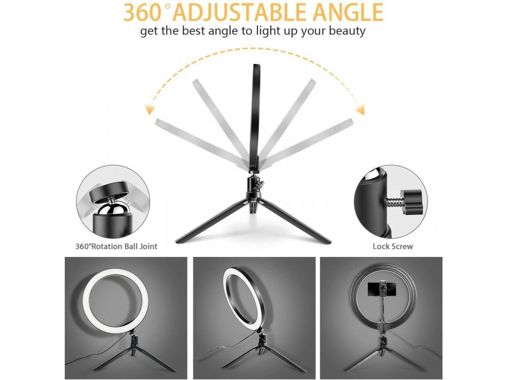 """Nordic LED Ring Light 12"""" (30cm) Dimmable Temperature 3200K-5600K & Adjustable 3 Color + Tripod - RING-101"""