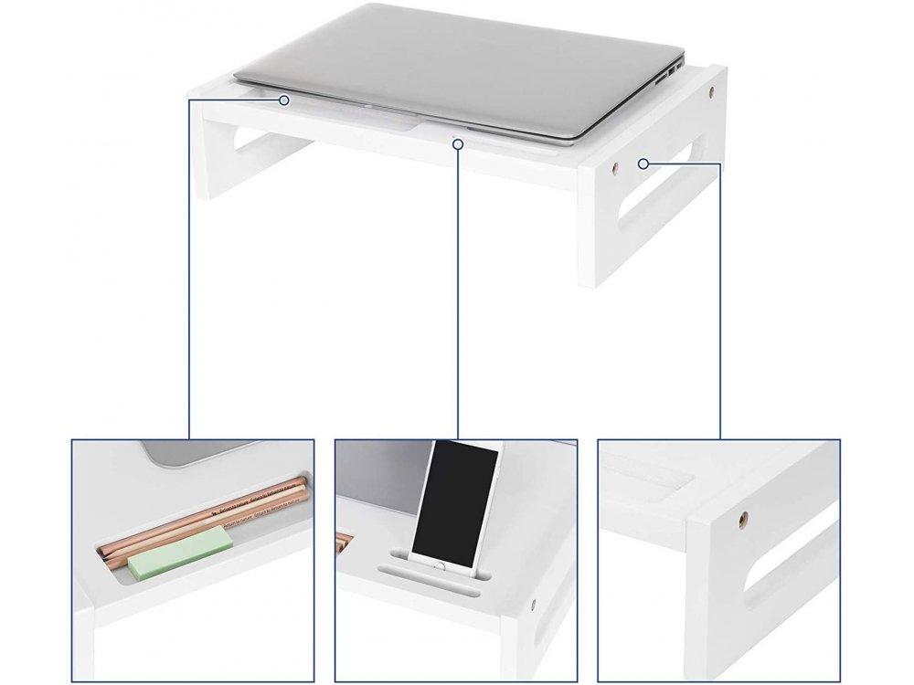 Songmics Βάση/Σταντ Οθόνης / Laptop από Μπαμπού, Θέση για Smartphone & Αποθηκευτικoύς Χώρους - LLD211WT, Λευκή