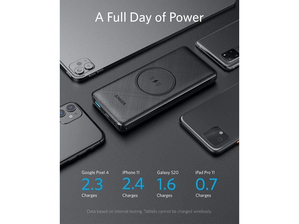 Anker PowerCore III 10K Wireless Power Bank 10000mAh,  10W Wireless Charging & 18W USB-C Power Delivery & Quick Charge - A1617H11
