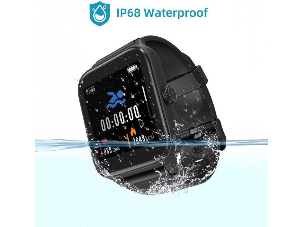 """Blackview R3 Pro Smartwatch 1.54"""" IPS HD Screen, Real Time Health Monitoring, 12 Sports Modes, IP68, Heart Rate Monitor, Μαύρο"""