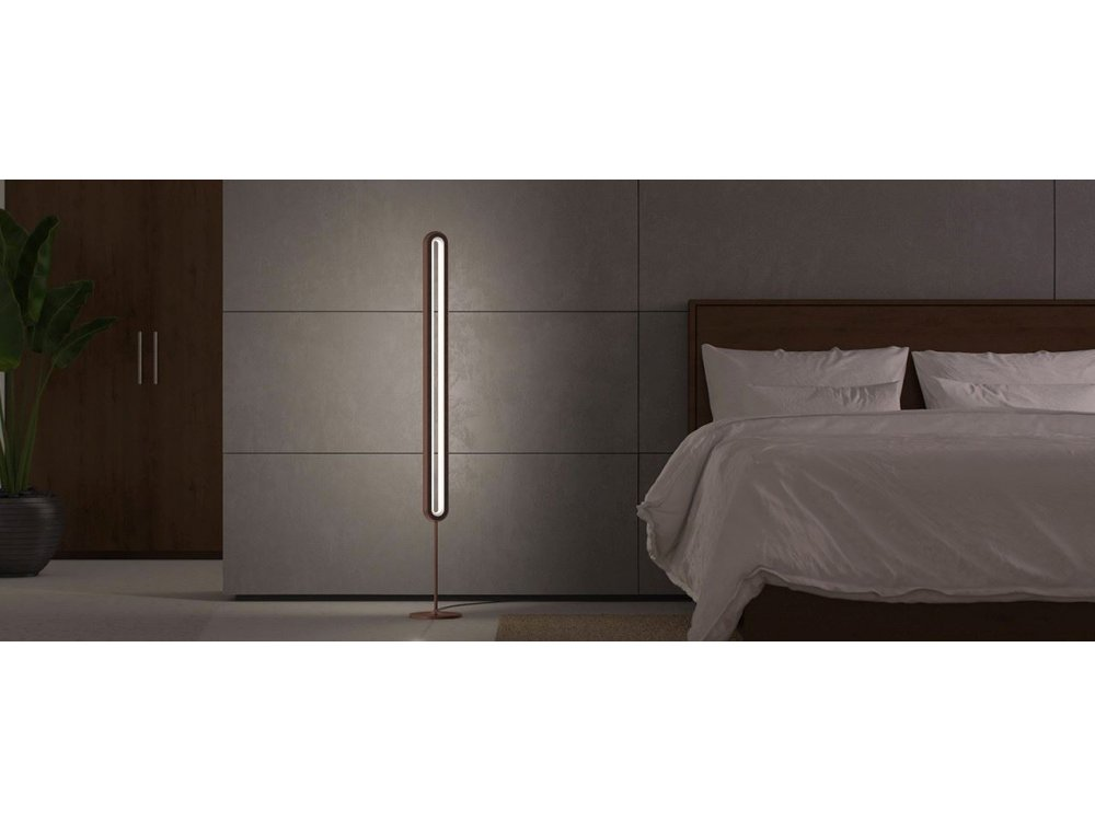 Allocacoc LightPillar LED Floor Lamp with Touch Control, Dimmable Brightness Level & Remote Control, Brown