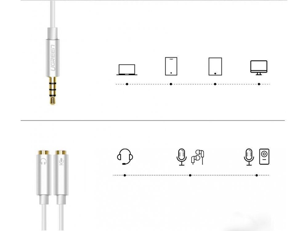 Ugreen 3.5mm Male to 2*3.5mm Female Auxiliary Stereo Y Headset/Microphone Splitter Audio Cable, Adapter 2-1 20cm - 30619