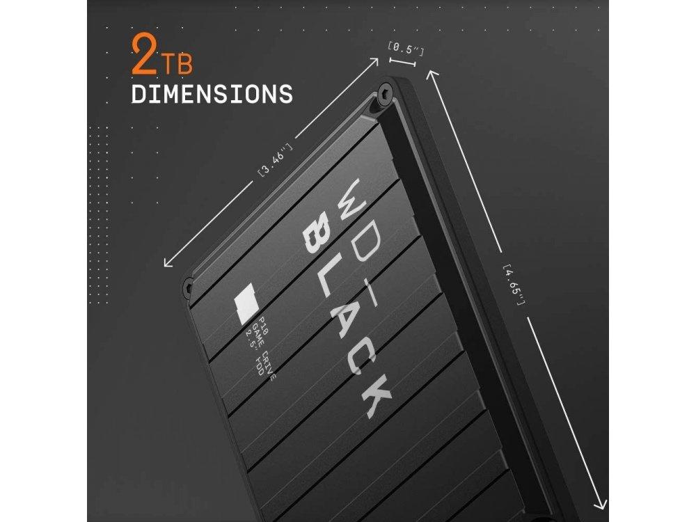 Western Digital BLACK P10 2TB Εξωτερικός Σκληρός Δίσκος, USB 3.0 Game Drive - WDBA2W0020BBK-WESN, Μαύρο