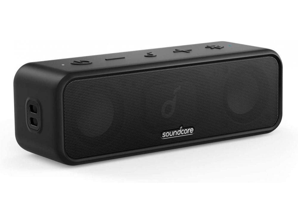 Anker Soundcore 3, Φορητό Bluetooth Ηχείο 16W με App & Pure Titanium Diaphragm Drivers, IPX7, BassUp - A3117011, Μαύρο