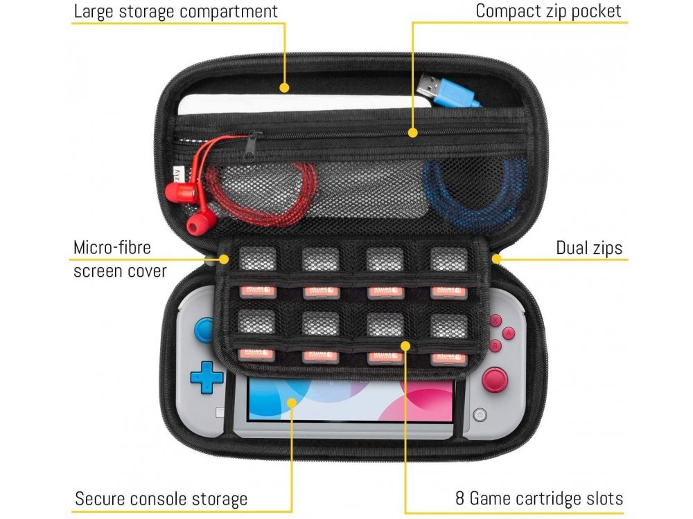 Orzly Nintendo Switch Lite θήκη μεταφοράς για συσκευή και παρελκόμενα, Coral