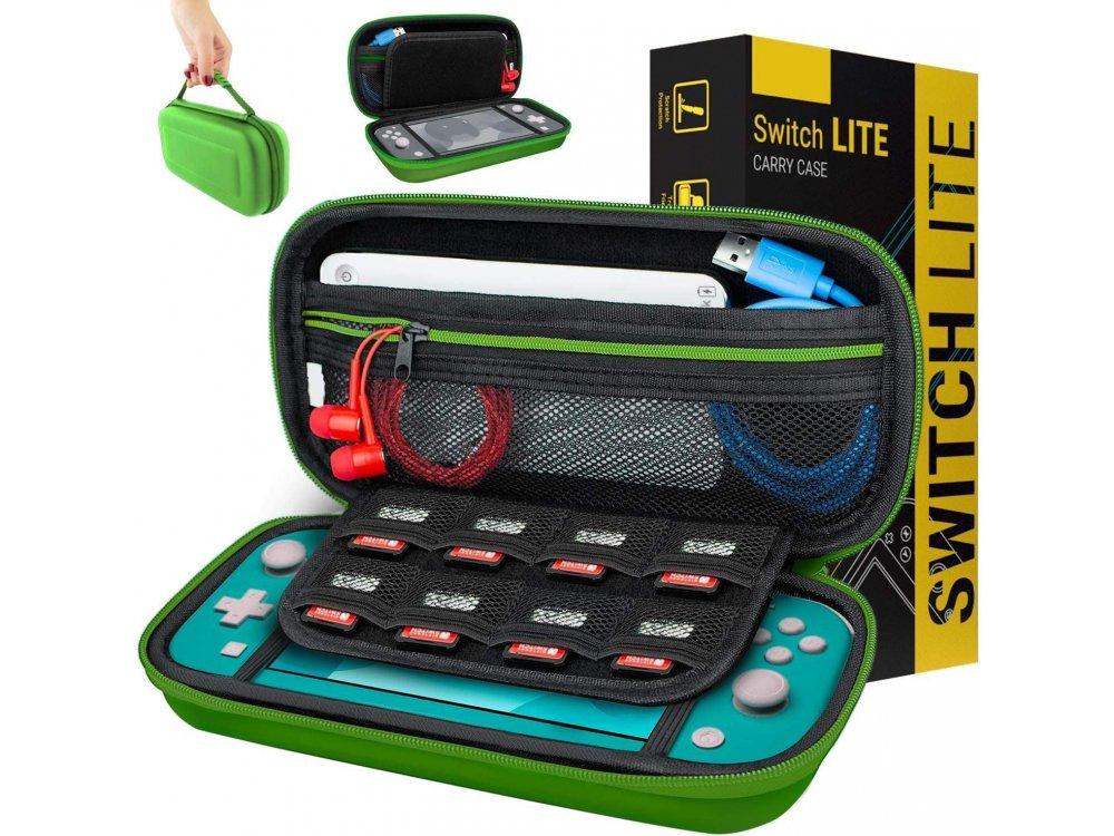 Orzly Nintendo Switch Lite θήκη μεταφοράς για συσκευή και παρελκόμενα, Green