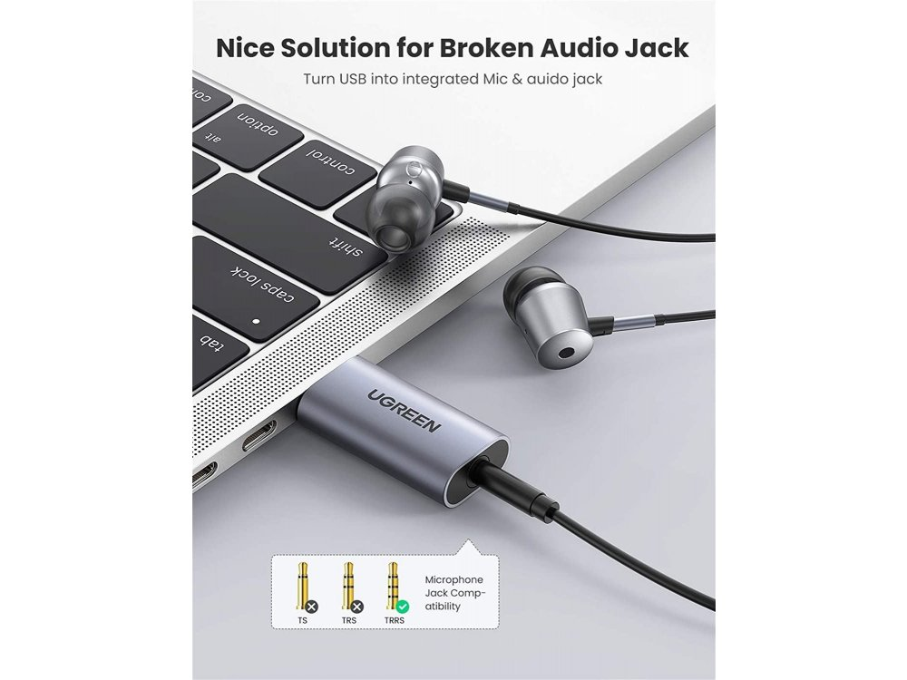 Ugreen USB Audio Adapter External Stereo Sound Card with Mic, 2-in-1 USB to 3.5mm Jack External Sound Card - 80864