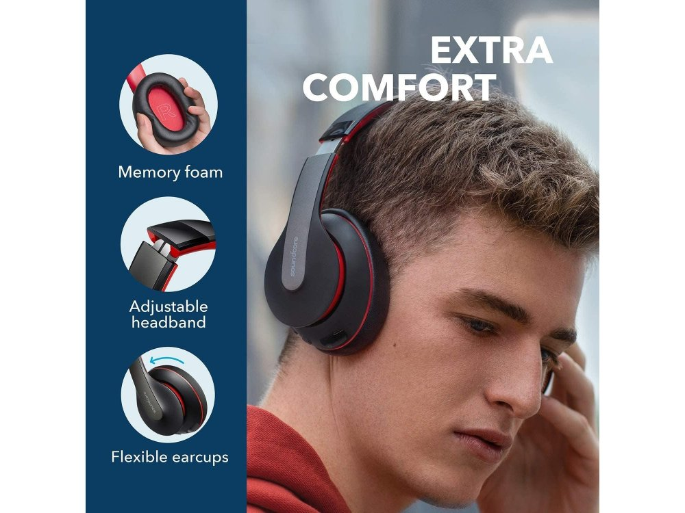 Anker Soundcore Life Q10 Bluetooth Headset, Foldable, Type-C Charging, Hi-Res Sound, 60H Battery - A3032H12, Black