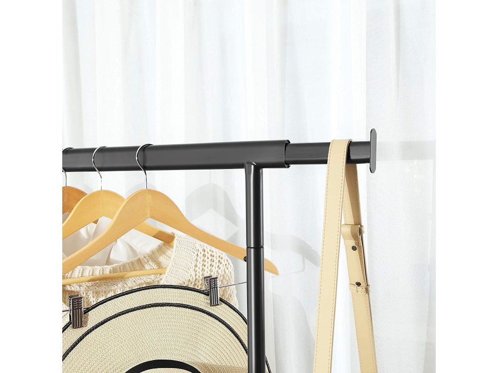 Songmics Κρεμάστρα Ρούχων Δαπέδου Heavy Duty Τροχήλατη, με Επεκτεινόμενη Ράγα και Κάτω Ράφι 132 x 45 x 160cm - HSR13BKV1, Μαύρη