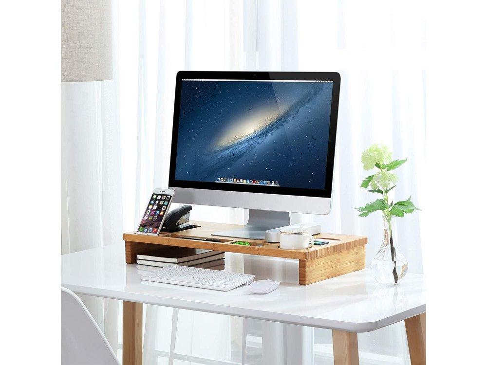 Songmics Βάση/Σταντ Οθόνης / Laptop από Μπαμπού, Θέση για Smartphone & Αποθηκευτικoύς Χώρους - LLD201, Καφέ