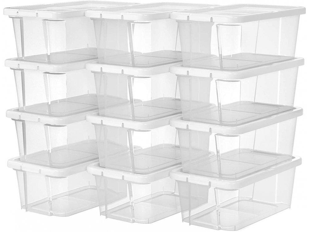 Songmics Storage & Organization Boxes with Lids Set of 12pcs, 36 x 22 x 13.5cm - LSP13WT