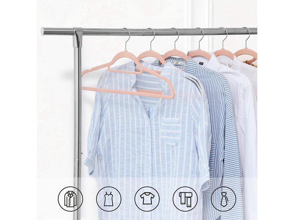 Songmics Velvet Clothes Hangers Set of 50pcs with rotating Hook - CRF50PK, Light Pink