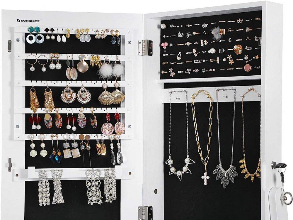 Songmics Wooden Floor Mirror & Jewelry Box, with Lock - JJC69WT, White