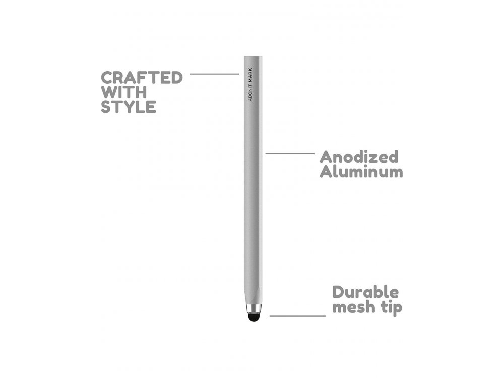 Adonit Mark Executive Stylus Pen Stylus for Tablet / Smartphone - ADMB, Silver