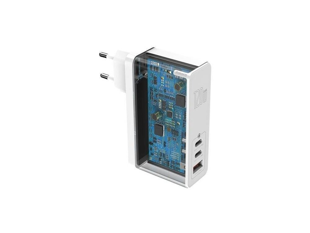 Baseus GaN 2 Pro 120W 3-port socket charger with Power Delivery, SCP, FCP, AFC, QC4 + and GaN - CCGAN-J02, White
