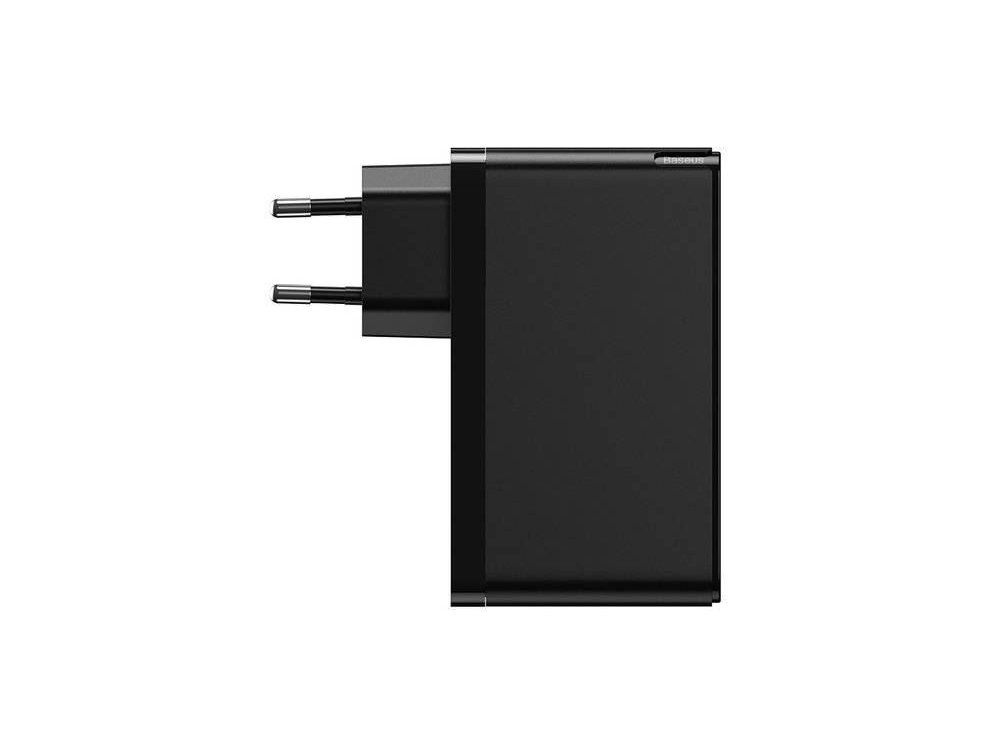 Baseus GaN 2 Pro 120W 3-port socket charger with Power Delivery, SCP, FCP, AFC, QC4 + and GaN - CCGAN-J01, Black