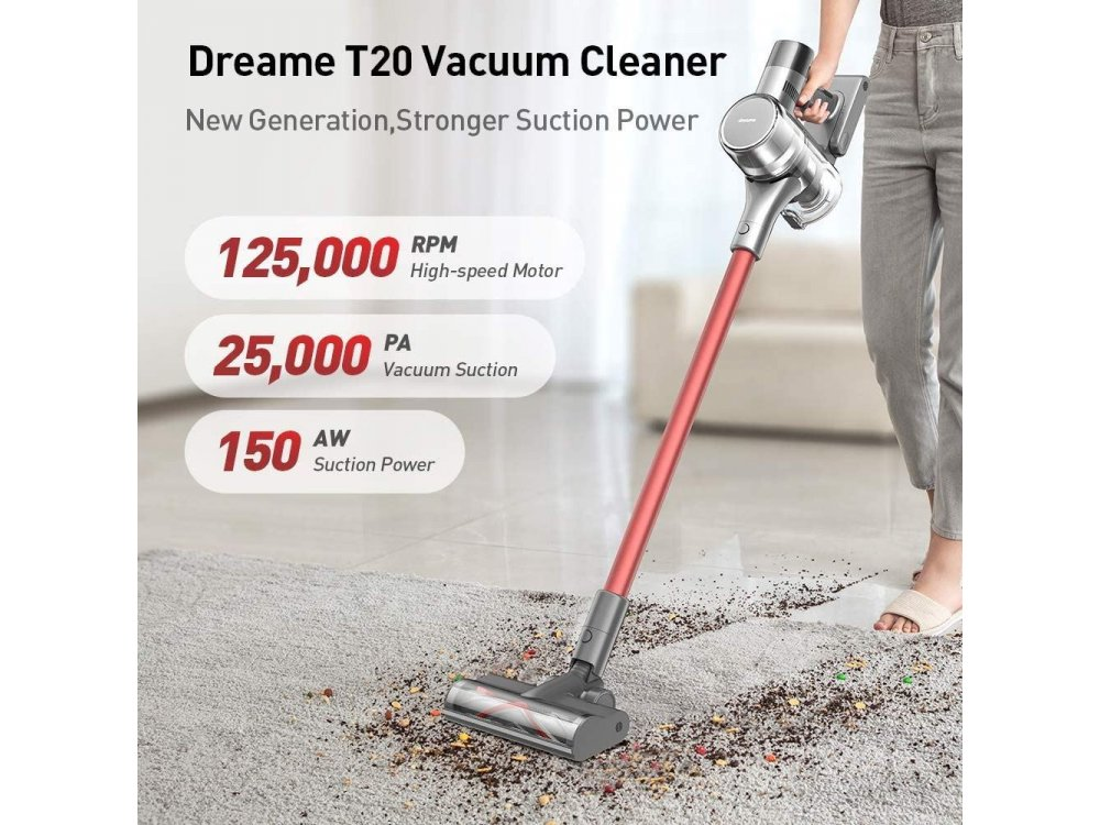 Dreame T20 by Xiaomi Cordless Vacuum Cleaner Stick 2-in-1, 150AW, with All-in one HD Screen, Rechargeable, Silver
