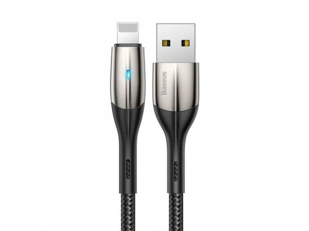 Baseus Horizontal 0.5μ. Lightning καλώδιο για Apple iPhone / iPad / iPod MFi, με LED & Νάυλον Ύφανση - CALSP-A01, Μαύρο
