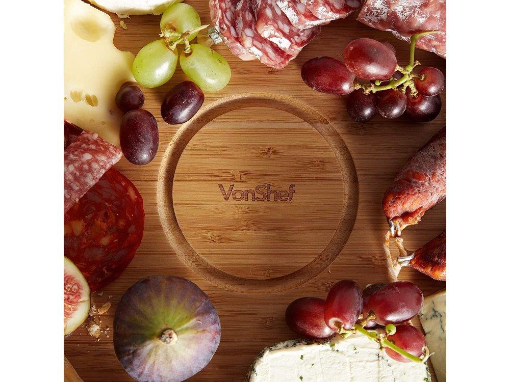 VonShef Premium Πιατέλα Σερβιρίσματος από Μπαμπού Περιστρεφόμενη 39cm x 39cm & Μπολ από Terracotta - 1000074