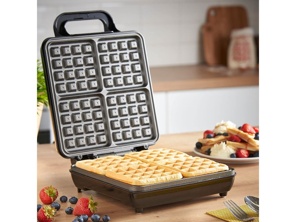 VonShef Waffle Maker, Waffle Maker for 4 Belgian Waffles, with Non-Stick Plate & Automatic Temperature Control 1100W - 13/307