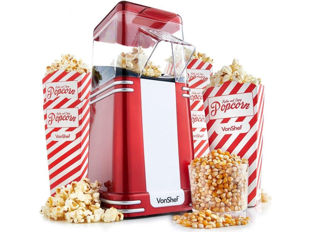 VonShef Retro Popcorn Maker, Vintage Στυλ Μηχανή Ποπ Κορν για υγιεινά σνακ (Πειλαμβάνονται 6 Μπολ) - 13/261, Κόκκινο