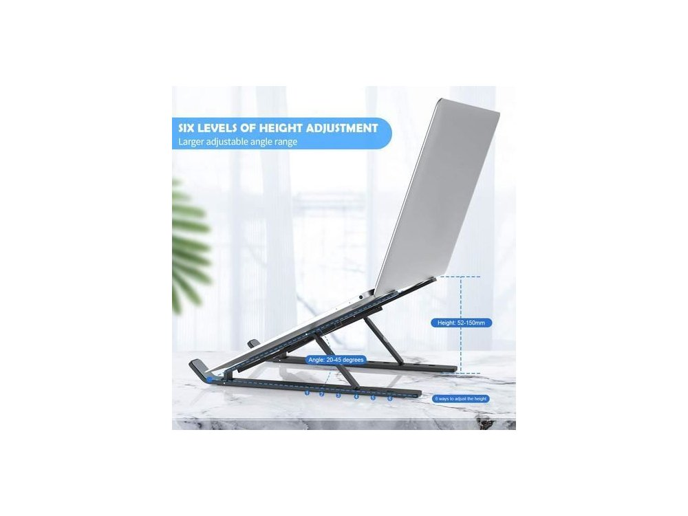 """Nordic Portable Laptop Stand, Ergonomic Stand with Adjustable Height & Folding for Laptop 10-15.6 """"- LH-550, Black"""