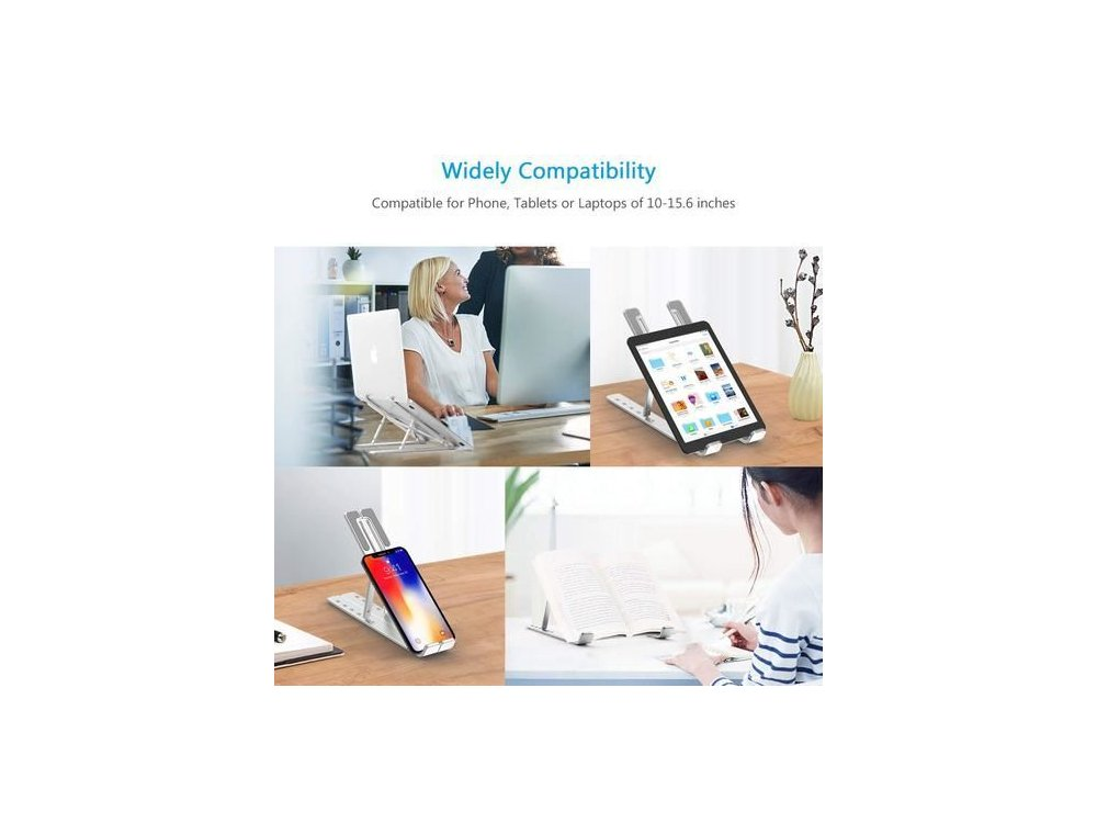 """Nordic Portable Laptop Aluminum Stand, Ergonomic Stand with Adjustable Height & Folding for Laptop 10-15.6 """"- LH-551, Silver"""