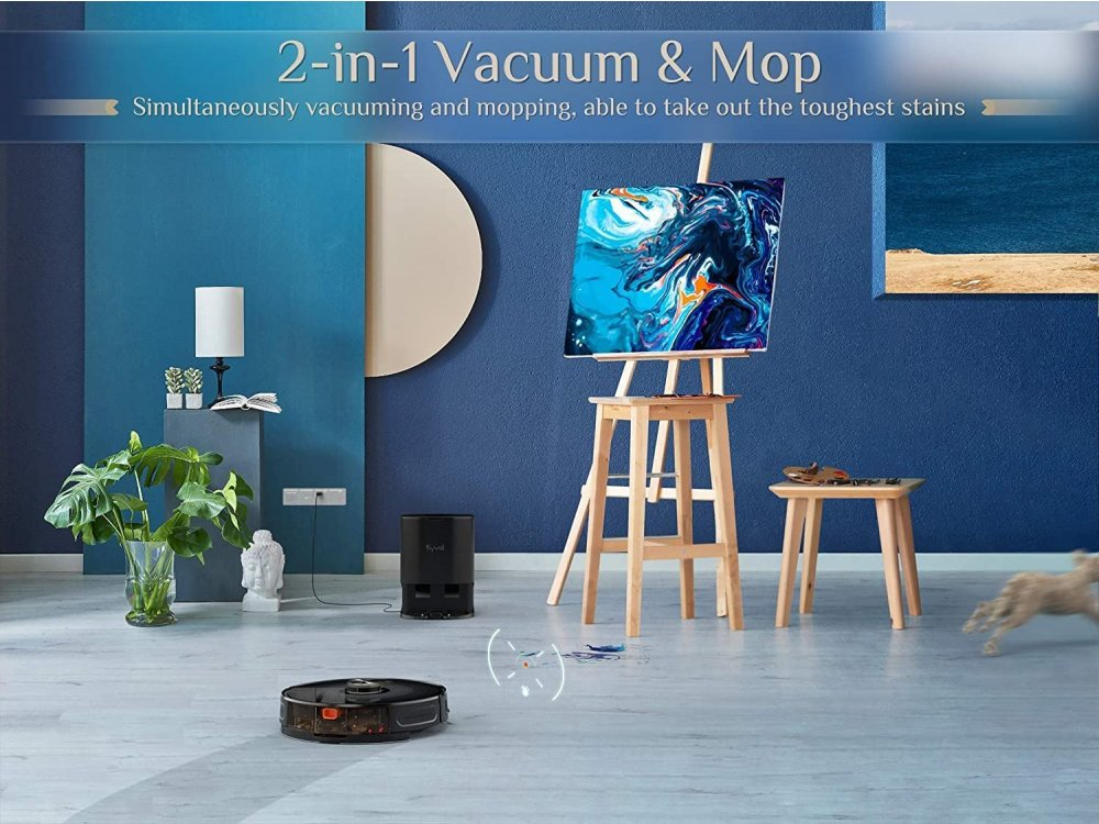 Kyvol Cybovac S31 Smart Robot Vacuum / Mopping Cleaner with Mop Mode, 3000Pa, with Base & App, Black