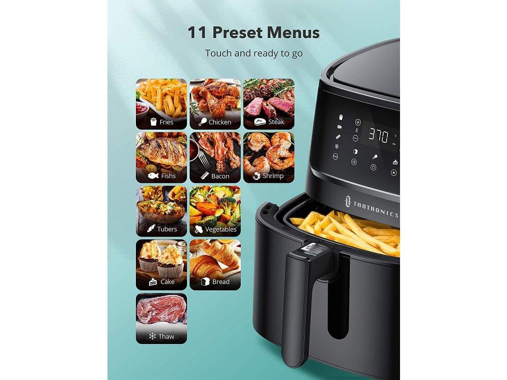 TaoTronics Air Fryer, Φριτέζα Αέρος XL 5.7lt για Υγιεινό Μαγείρεμα, 1750W, Touch Control, 11 Preset Menus & Recipes - TT-AF001