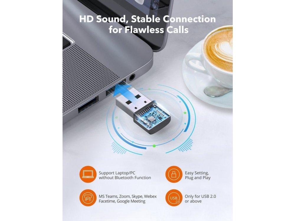 TaoTronics Trucker Bluetooth + USB Dongle Headset 41 με AI Auto Noise-cancelling Microphone, Μαύρο - TT-BH041