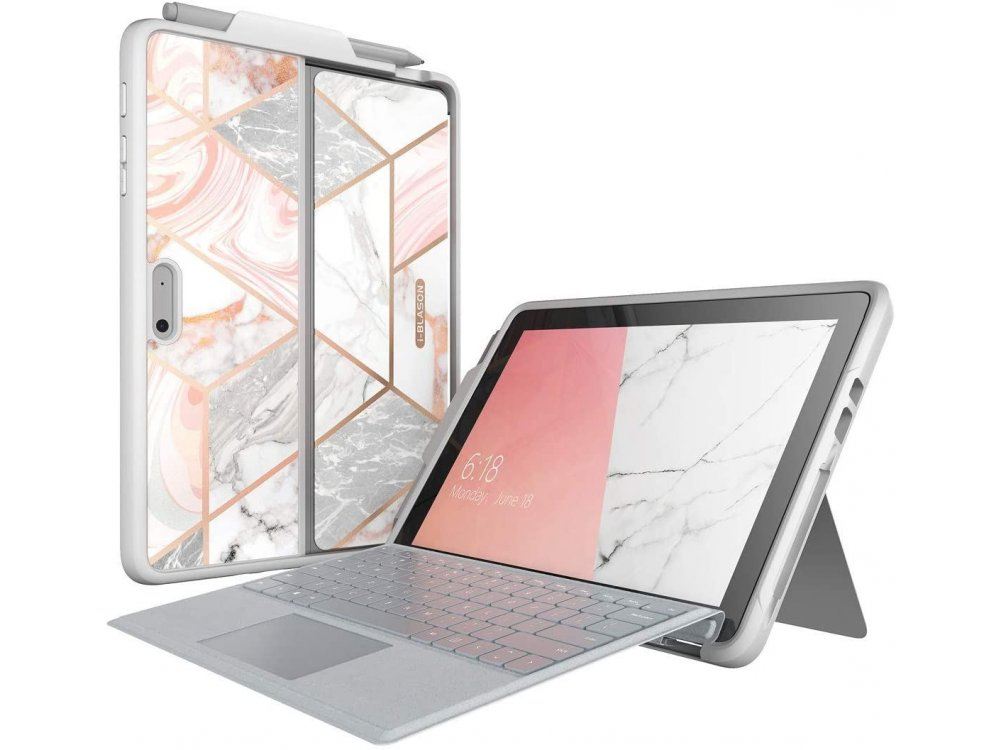 i-Blason Cosmo Microsoft Surface Go 2 / Surface Go Case with Auto Sleep / Wake & Pencil Holder, Stand, Hard Back Cover, Marble Pink