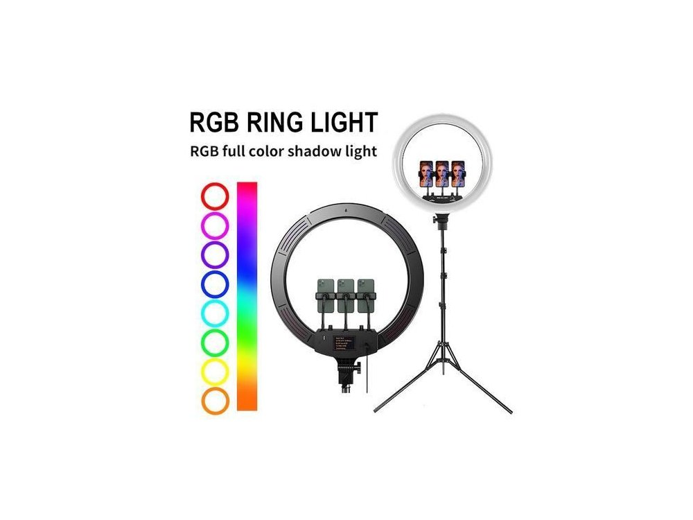 """Nordic RGB LED Ring Light 18 """"- 45cm Dimmable & Adjustable Color Temperature & Tripod up to 210cm Height - RING-107"""
