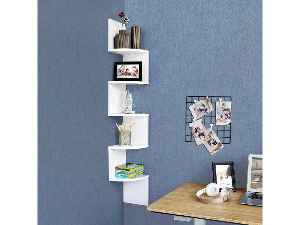 VASAGLE Corner Shelf / Wall Bookcase, 5 Shelves, Floating with Zigzag Design - LBC20WT, White