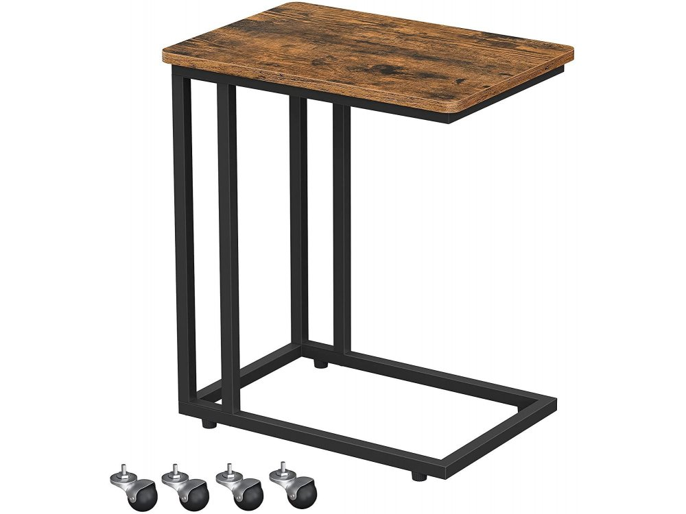 VASAGLE Side Table C SHAPE with Steel Frame and Rustic Brown Surface 50x35x60cm - LNT50X