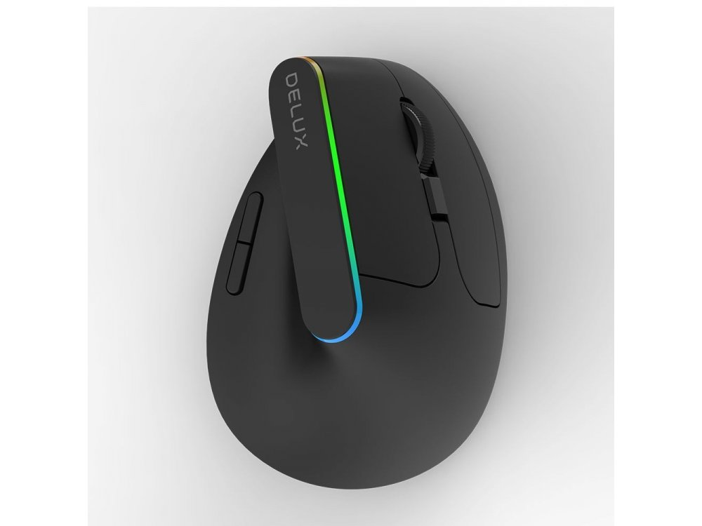 Delux M618DB Wireless Vertical Ergonomic RGB Mouse, 800/1200/1600/2400 / 4000DPI, 6 Keys Bluetooth + 2.4GHz, Black