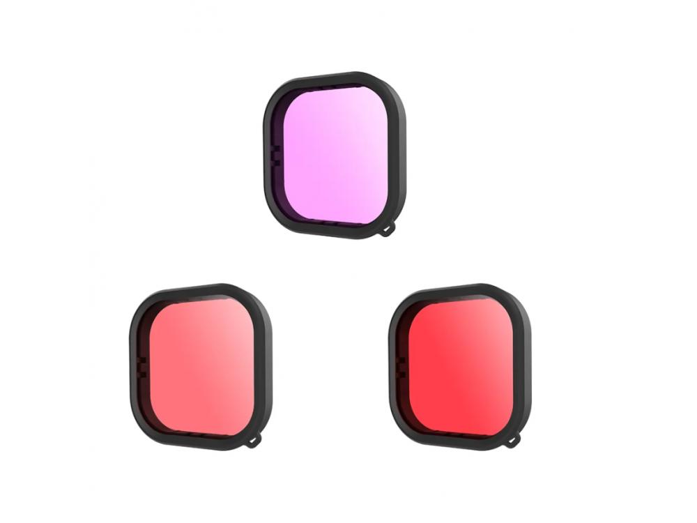 Telesin Red / Pink / Purple Lens filter set Underwater for GoPro Hero 9, Filter Set for Underwater Captures - GP-FLT-904
