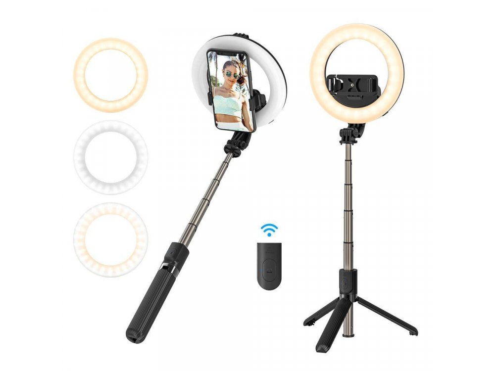 BlitzWolf BW-BS8 Pro Selfie Stick & Τρίποδο με Ring Light & Remote