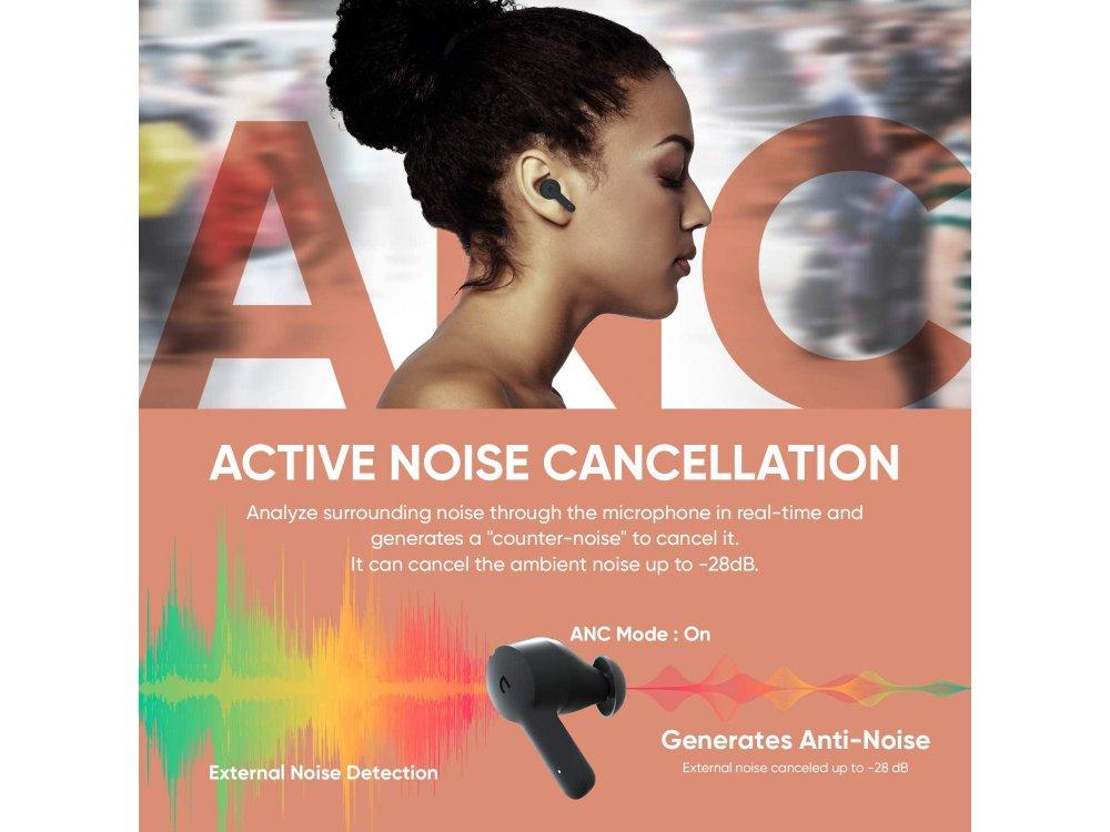 ABKO EC10 Bluetooth TWS Headphones with Active noise cancellation & Wireless Charging, Black