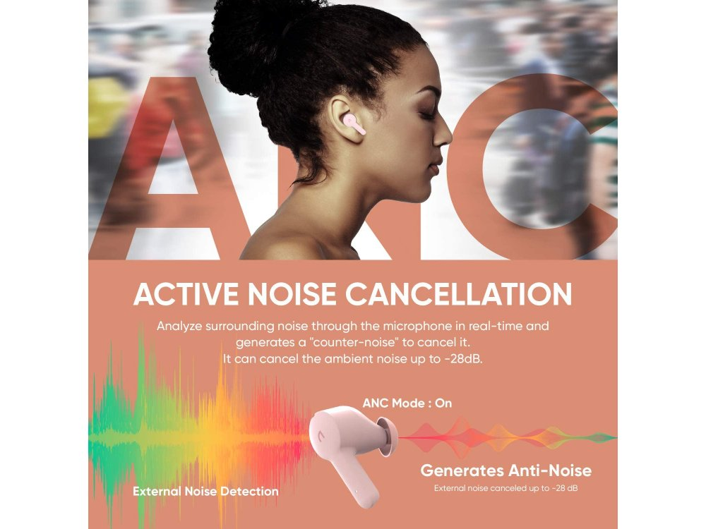 ABKO EC10 Bluetooth Ακουστικά TWS με Active noise cancellation & Ασύρματη Φόρτιση, Pink
